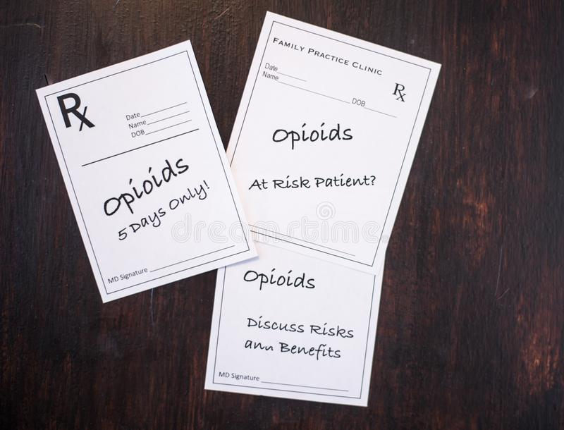 Opioid Prescriptions with prescribing warnings. Opioid prescriptions with warnings to discuss risks, benefits, at risk patient and short term dose royalty free stock images