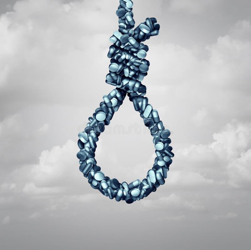 Opioid samobójstwa niebezpieczeństwo ilustracji