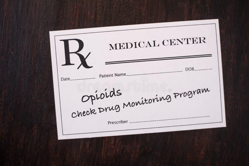 Opioid Voorschrift - controleer controleprogramma stock afbeelding