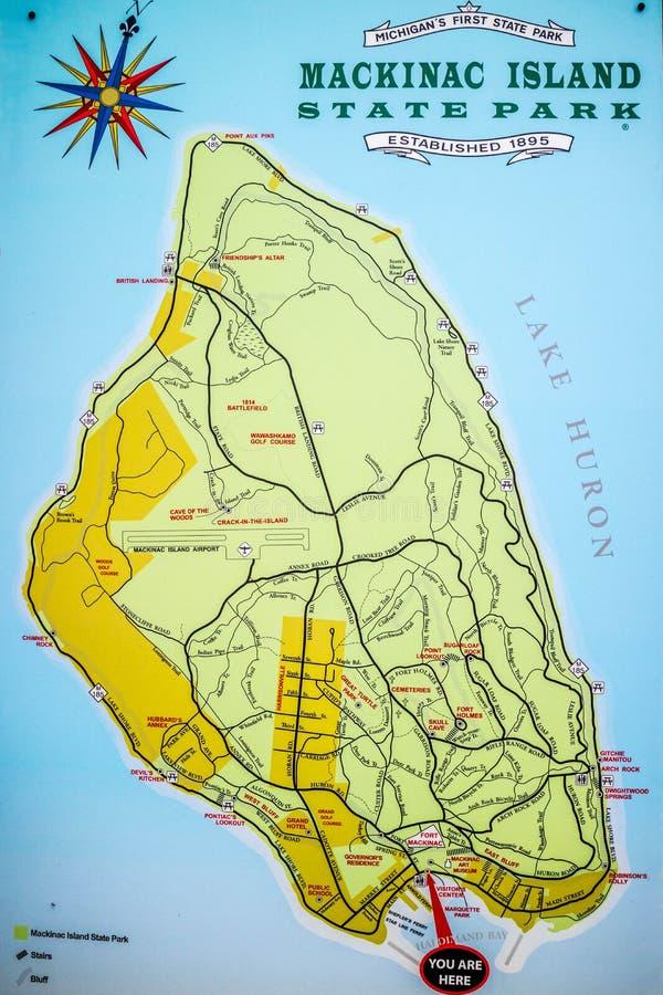 Opis deska dla miejsca w Mackinac wyspie, Michigan obrazy stock