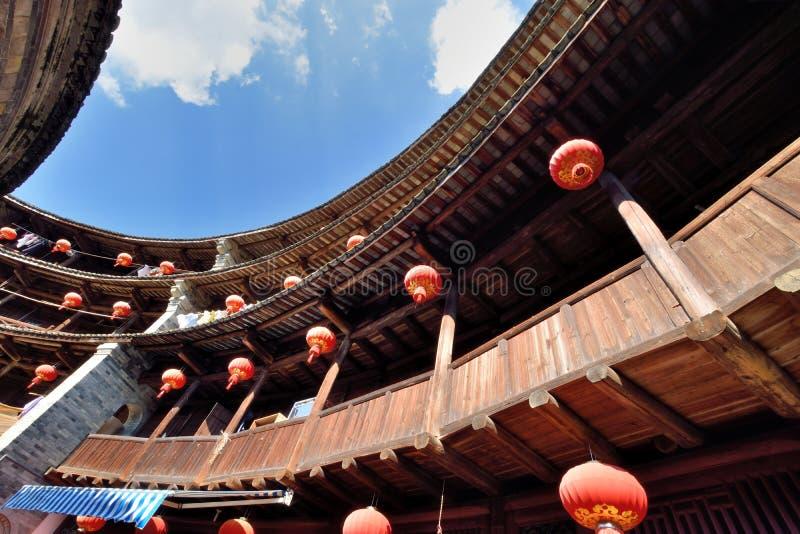 Opisywany constructure ziemia kasztel inside, południe Chiny zdjęcia stock