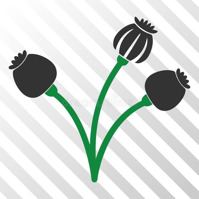 OpiumPoppy Plant Vector EPS symbol royaltyfri illustrationer