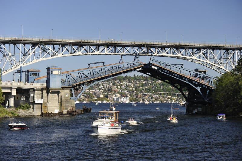 Opklapbrug, Seattle, de V.S. stock foto