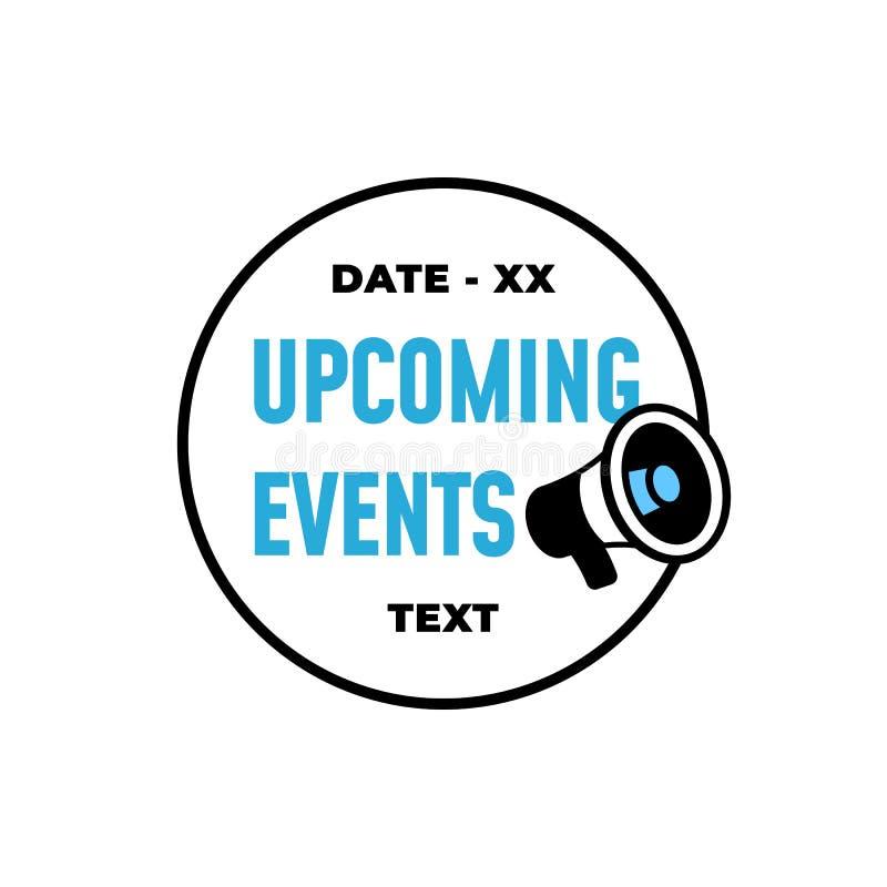 Opkomende gebeurtenissen retro badge etiketontwerp met de vectorikoon van de luidspreker illustratie vector illustratie