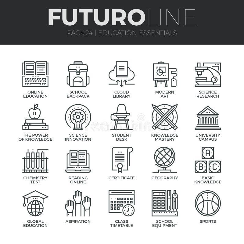 Opleiding en onderwijs Futuro Geplaatste Lijnpictogrammen vector illustratie