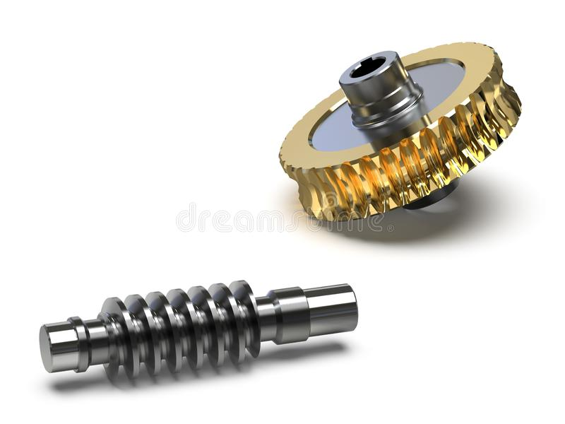 Opleidingsbeeld van de assemblage van het wormtoestel, 3d illustratie stock illustratie
