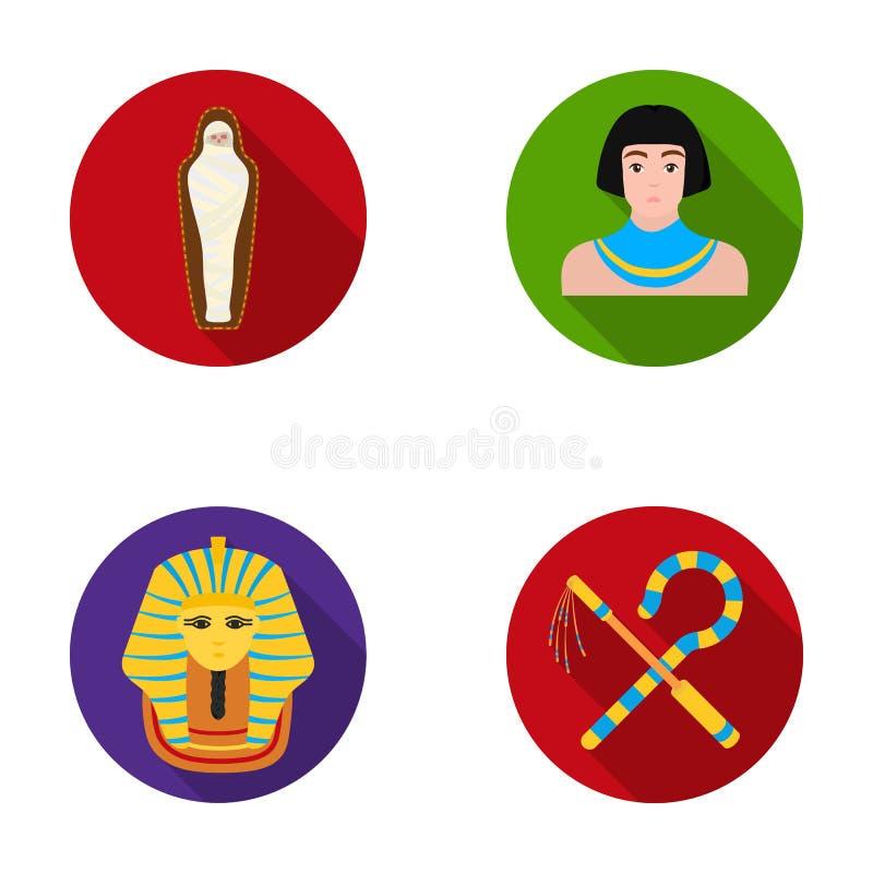 Oplichter en dorsvlegel, een gouden masker, een Egyptenaar, een brij in een graf Oude vastgestelde de inzamelingspictogrammen van royalty-vrije illustratie