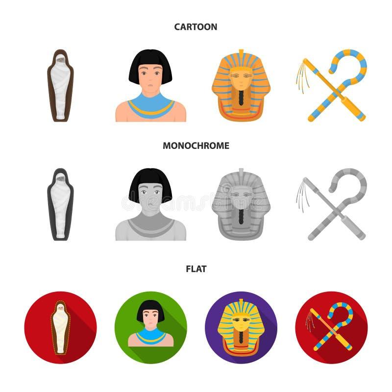 Oplichter en dorsvlegel, een gouden masker, een Egyptenaar, een brij in een graf Oude vastgestelde de inzamelingspictogrammen van vector illustratie