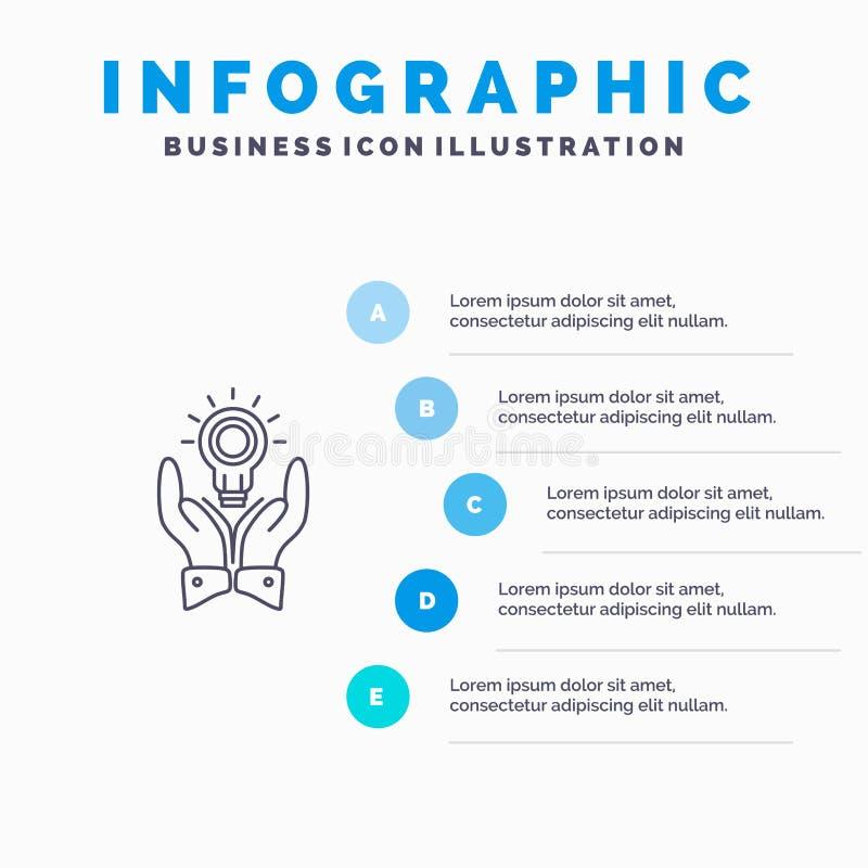 Oplossing, Bol, Zaken, Hand, Idee, Marketing Lijnpictogram met infographicsachtergrond van de 5 stappenpresentatie vector illustratie