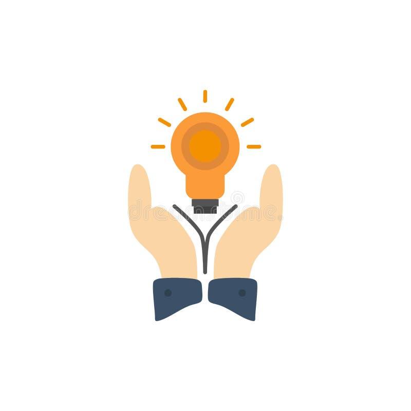 Oplossing, Bol, Zaken, Hand, Idee, Marketing Vlak Kleurenpictogram Het vectormalplaatje van de pictogrambanner stock illustratie