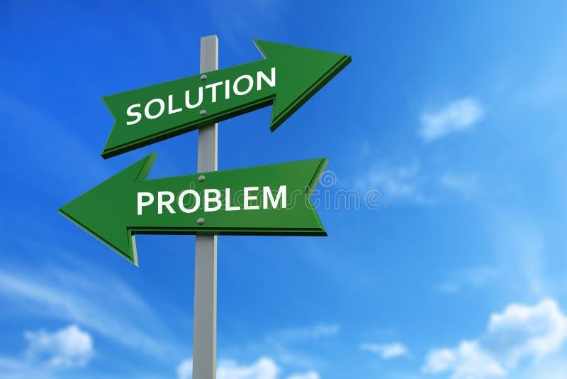 Oplossing en probleempijlen tegenover richtingen vector illustratie