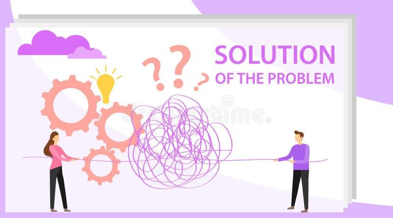 Oplossing voor het probleem De mensen ontrafelen een draad om een probleem op te lossen Vectorillustratie van een probleem stock illustratie