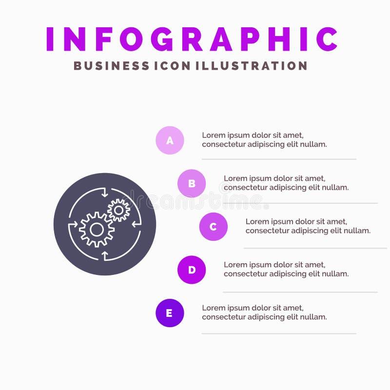 Oplossing, Zaken, Bedrijf, Financiën, Structuur Stevig Pictogram Infographics 5 de Achtergrond van de Stappenpresentatie royalty-vrije illustratie