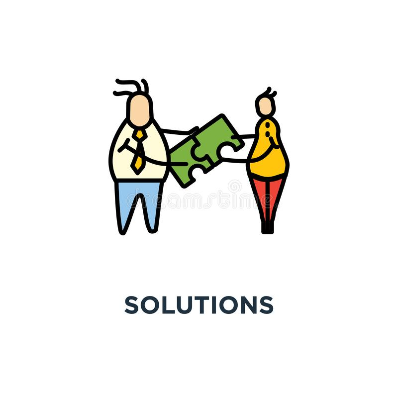 oplossingenpictogram verenigbaarheid, ui voor Web en mobiel ontwerp, het ontwerp van het conceptensymbool, samenstelling, groepsw royalty-vrije illustratie
