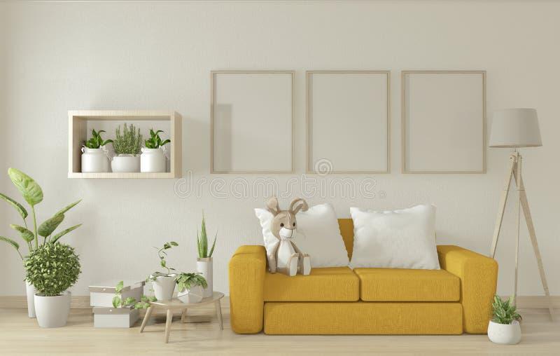Opmaak - poster maakt de binnenkant van de woonkamer schoon met gele armstoelbank op basis van een minimaal ontwerp van de witte  stock illustratie