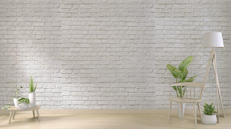 Opmaak - witte bakstenen muur op vloerhouten en decoratiebedrijven 3D-rendering royalty-vrije illustratie