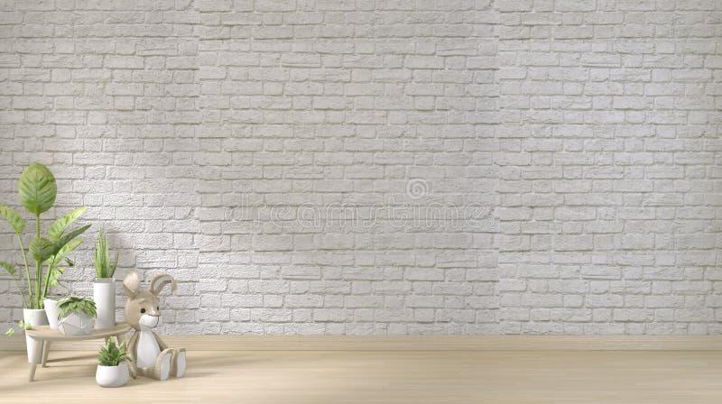 Opmaak - witte bakstenen muur op vloerhouten en decoratiebedrijven 3D-rendering stock illustratie