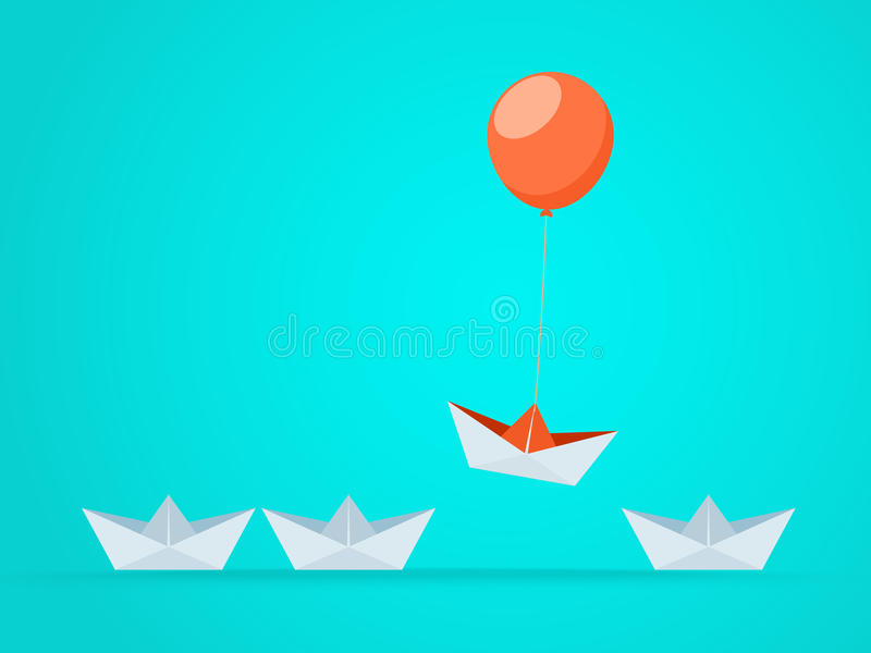 Opmerkelijk de Bootstijgingen hierboven met ballon Bedrijfsvoordeelkansen en succesconcept vector illustratie