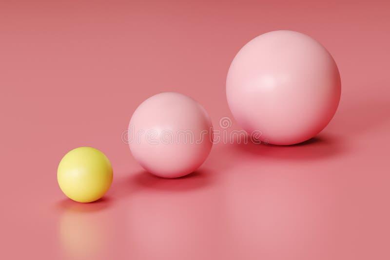 Opmerkelijk geel gebied en roze gebieden in verschillende grootte op roze achtergrond vector illustratie