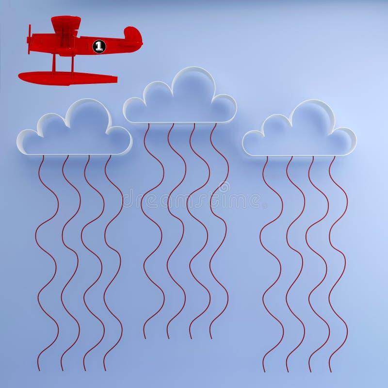 Opmerkelijk Rood Vliegtuig die over wolken van de meest dominante landen rond wereld i vliegen e De V.S., Europa, Chinees, Japann royalty-vrije illustratie