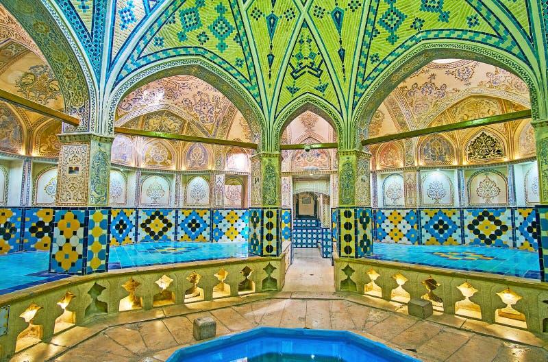 Opmerkelijke middeleeuwse bathhouse in Kashan, Iran stock foto