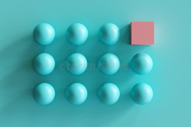 Opmerkelijke roze doos onder blauwe gebieden op blauwe achtergrond royalty-vrije illustratie