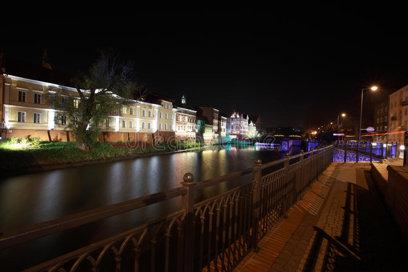 Opole and City Hall. Night picture postcard town of Opole stock image