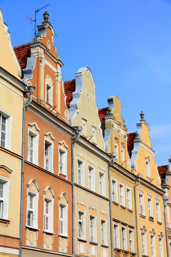 Opole, Poland. City architecture. Residential architecture at main square (Rynek royalty free stock photography