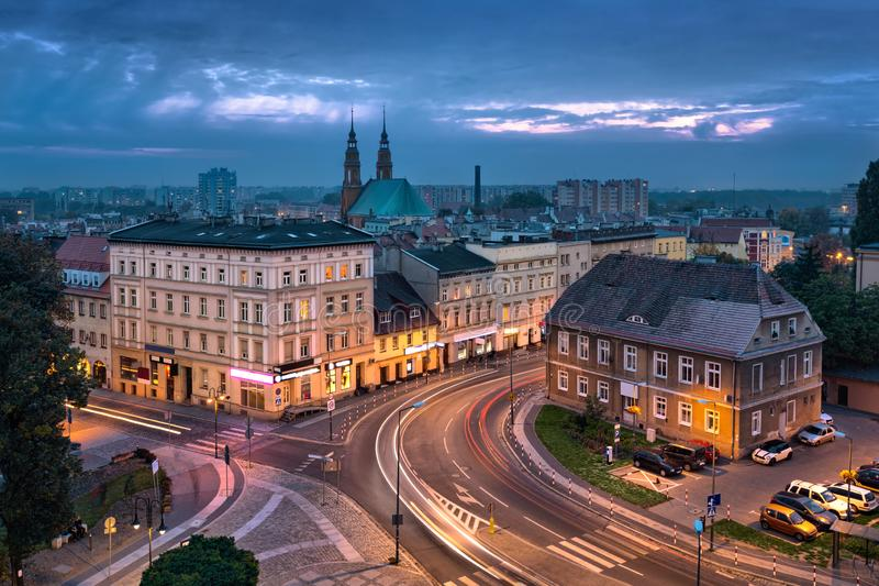 Opole, Poland. Aerial cityscape at dusk. With cathedral royalty free stock image