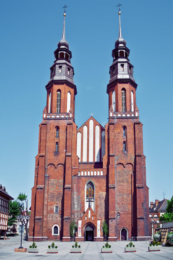 Opole, Poland - city architecture. Famous church. Opole, Poland - city architecture. Famous cathedral church royalty free stock photo