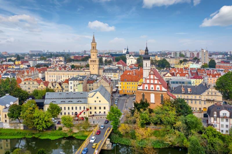 Opole, Polen Flygvy över den gamla staden arkivbild