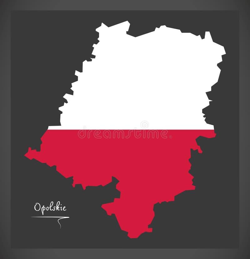 Opolskie map of Poland with Polish national flag illustration. Opolskie map of Poland with Polish national flag vector illustration