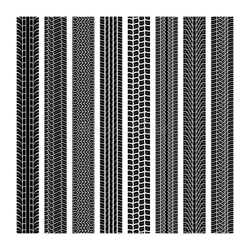 Opona ślada Stąpania koła pojazdu prędkości autostrady motocross śladu nicianej samochodowej drogowej gumowej czarnej tekstury dr royalty ilustracja