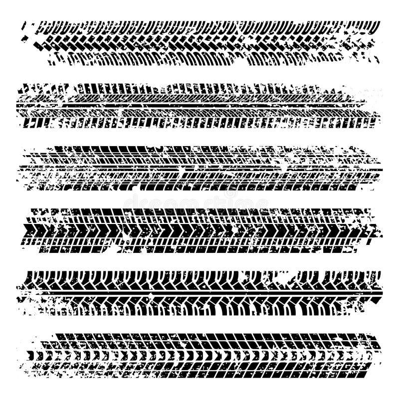 Opona ślada z grunge teksturą kreskówki serc biegunowy setu wektor ilustracji