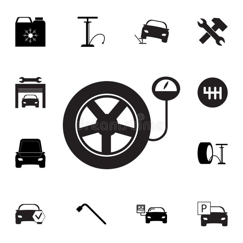 Opona ciśnieniowy wymiernik Samochodowy koło z manometr ikoną Set samochód naprawy ikony Znaki, konturu eco kolekcja, proste ikon royalty ilustracja