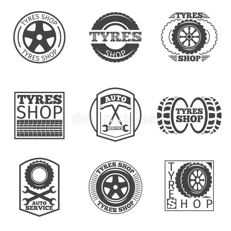 Opona sklepu logo Rocznik samochodowa wektorowa etykietka ilustracji