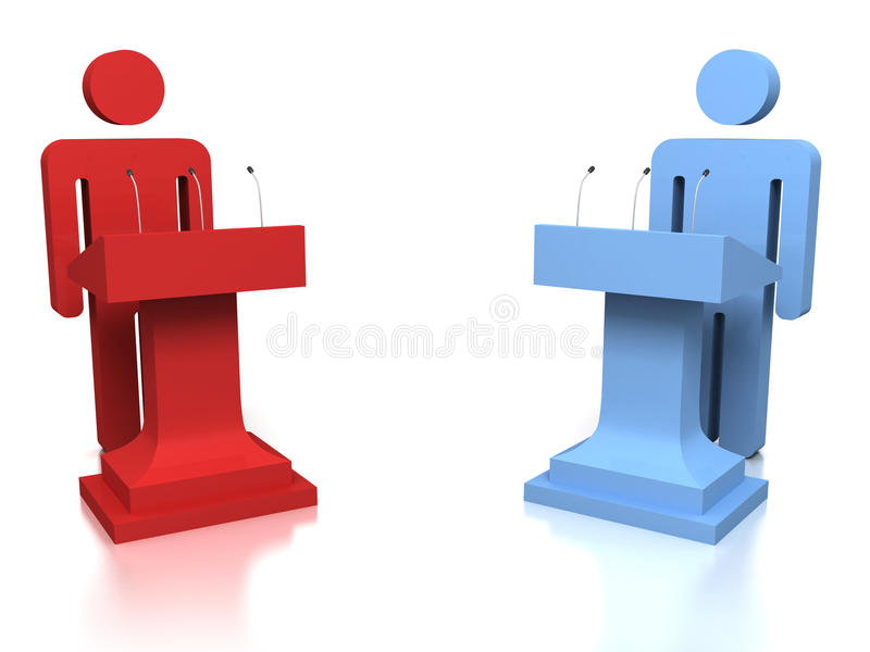 oponentes dos povos 3D em um debate sobre um fundo branco ilustração do vetor