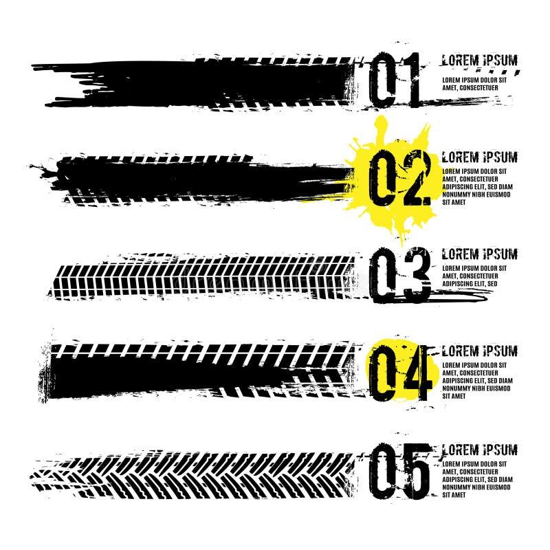 Opony stąpanie zaznacza infographic ilustracji