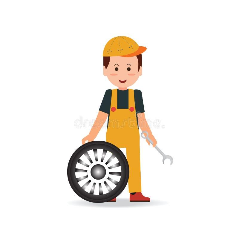 Opony usługa mężczyzna pracownika odmieniania opona royalty ilustracja