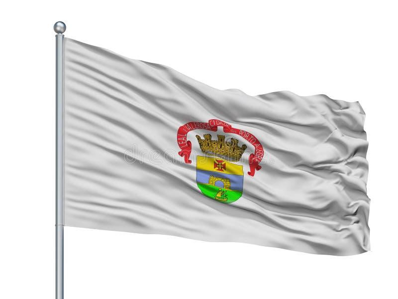Oporto Alegre City Flag On Flagpole, el Brasil, aislado en el fondo blanco stock de ilustración