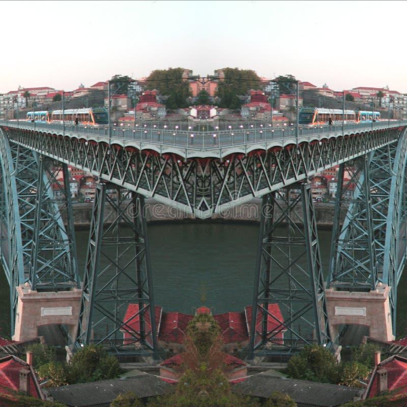 Oporto city bridge   abstract  digital art. Oporto city  abstract digital art royalty free stock images