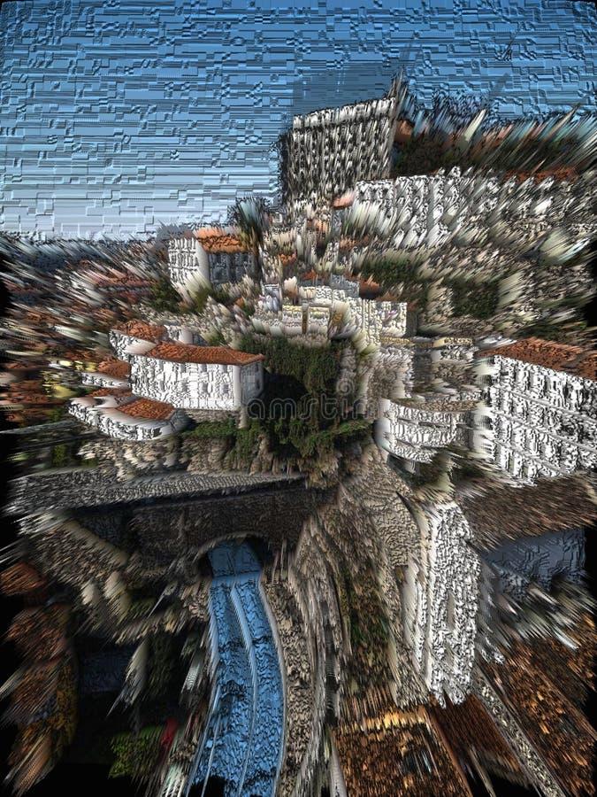 Oporto city ribeira    digital art. Oporto city   digital art transformation stock image