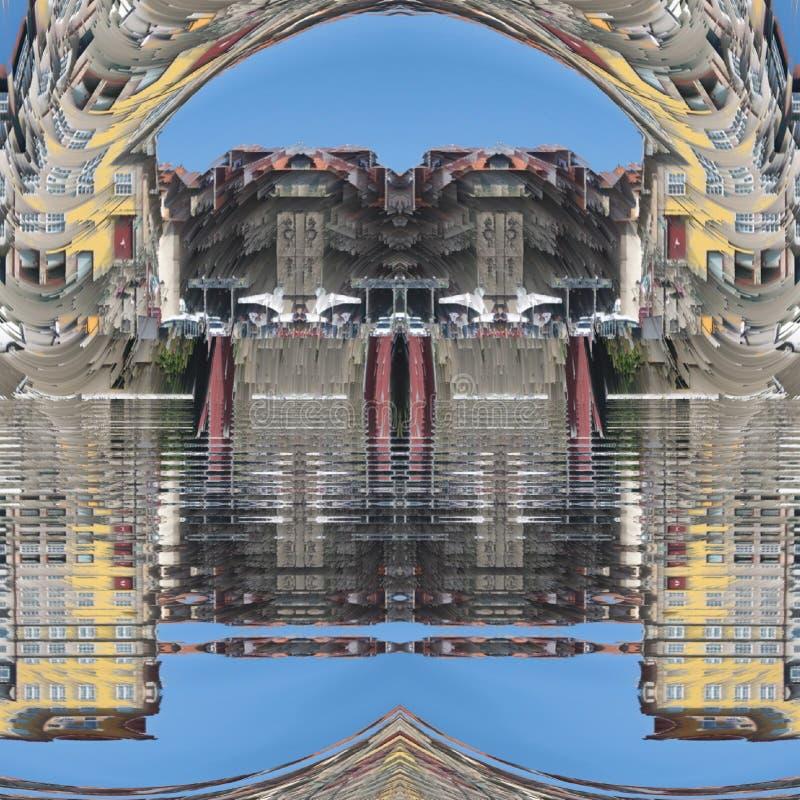 Oporto digital art. Ribeira portugal illusion city river water stock photo