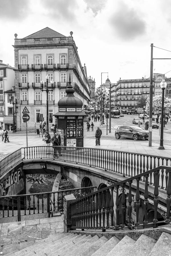 Oporto downtown vintage view, Portugal royalty free stock photos