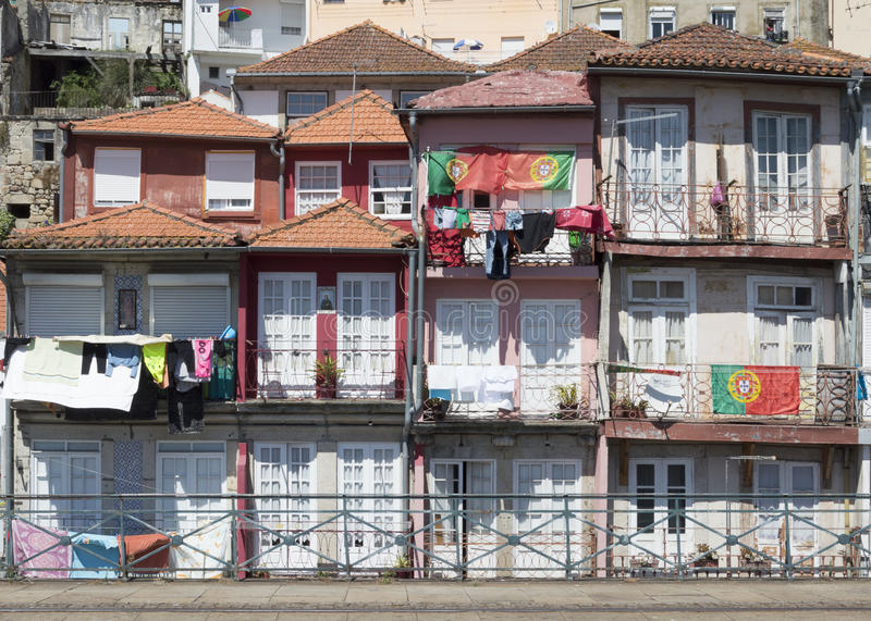 Oporto houses with hanging clothes royalty free stock image