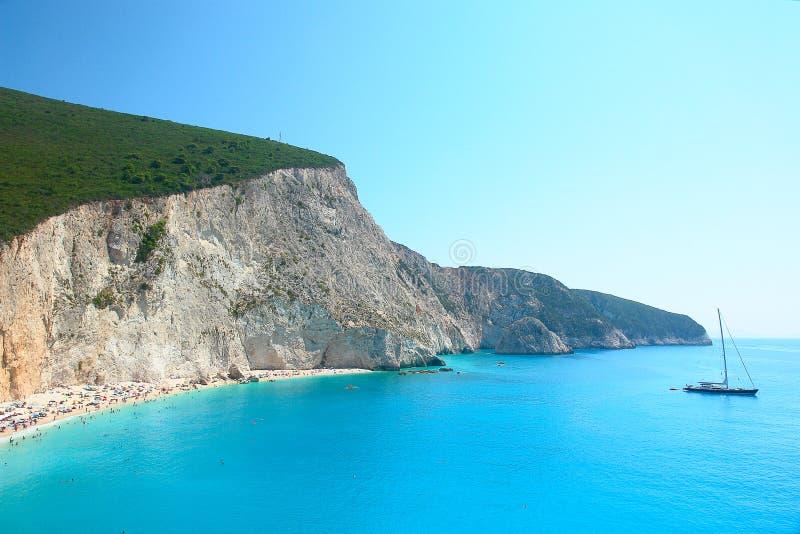 Oporto Katsiki en la isla Grecia de Lefkada foto de archivo libre de regalías