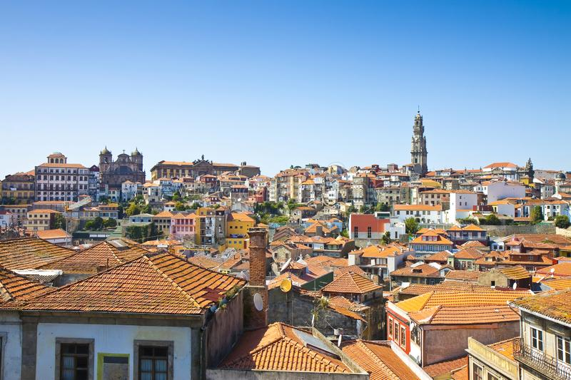 Oporto panoramic view. On background the famous Clerigos tower stock photo