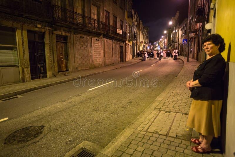 OPORTO, PORTOGALLO - processione in onore della nostra signora di Fatima immagine stock libera da diritti