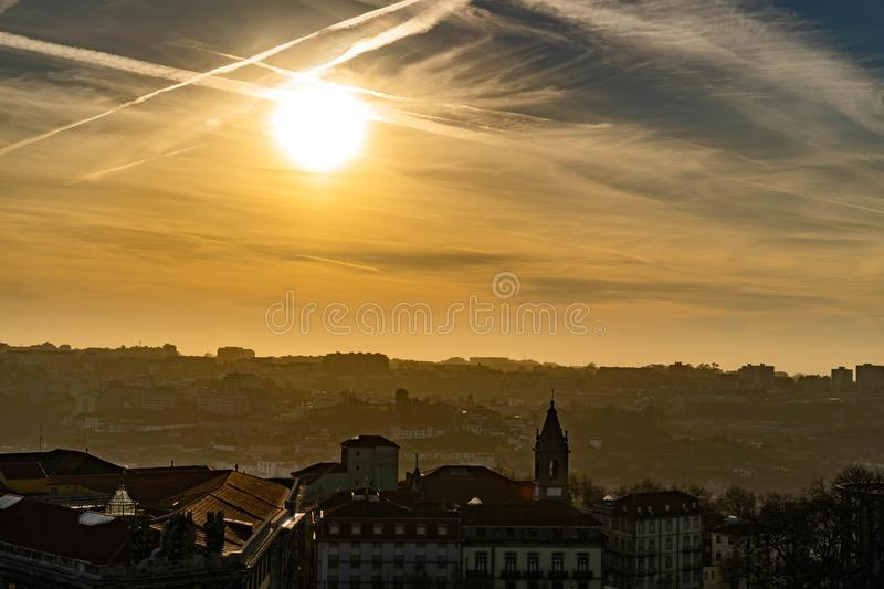 Panoramic view from Clerigos tower in Oporto Portugal royalty free stock photography