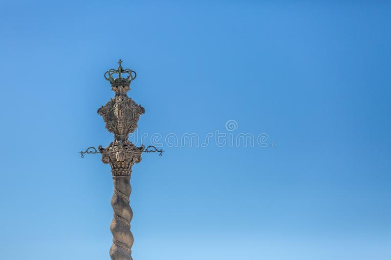 Detailed view at the Pillory of Porto city, a ornamented sculpture , blue sky as background. Oporto/Portugal - 10/02/2018 :Detailed view at the Pillory of Porto royalty free stock photos
